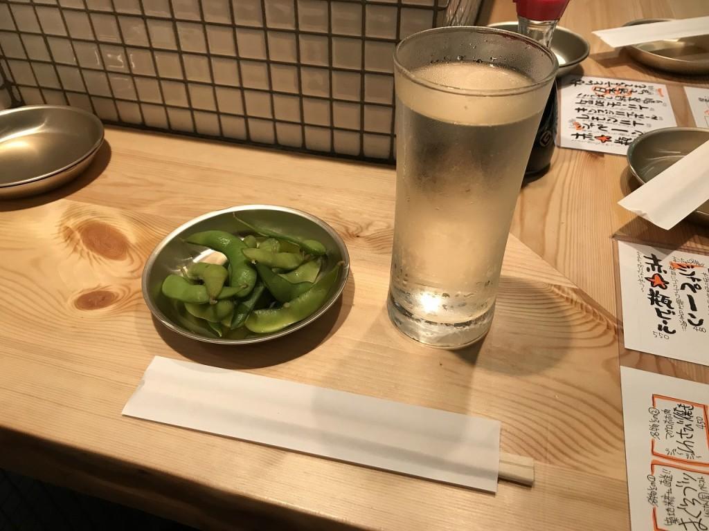 お通しのづけ茶豆とジャペーン