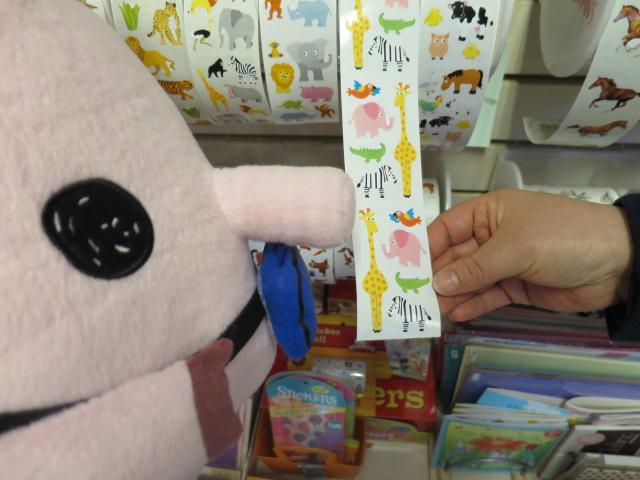 ピンクの象シール