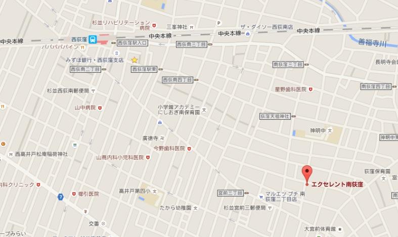 エクセレント南荻窪202号室地図